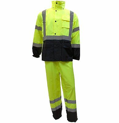 RK Safety Class 3 Rain Suit High Visibility Reflective Black Bottom RW-CLA3-LM11