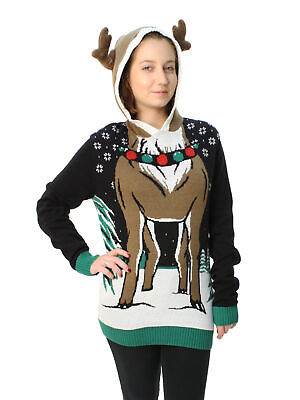 6ec91c92 Ugly Christmas Sweater Plus Size Women's Reindeer Hooded Light Up Sweatshirt