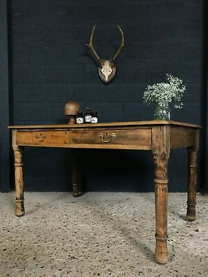 Vintage Antique Leather Top Table Desk