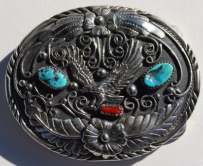 S.S.I 1988 Handcrafted Genuine Turquoise and Coral Eagle Belt Buckle Made in USA