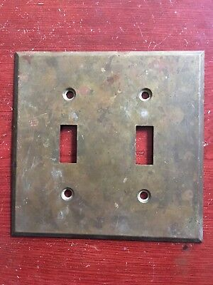 Vintage ~ Antique ~ Brass Electric Double  Button Switch Plate Cover
