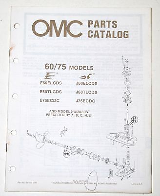 1986 OMC Parts Catalog 60 & 75 Hp Models Evinrude Johnson Outboards # 397323
