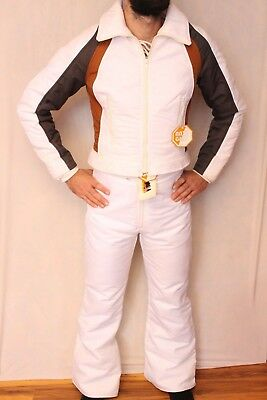 NEW Vintage 70s 80 Ski Snow Winter Suit Jacket Pants Women Small 14 White Topher