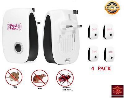 4 Pack Ultrasonic Pest Repeller Repellent Reject Mouse Mice Spider Plug In Plugs