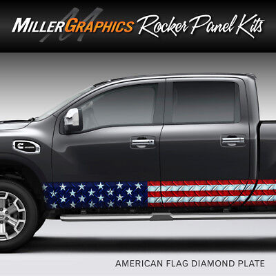 American Flag Diamond Plate Rocker Panel Graphic Decal Wrap Kit Truck SUV