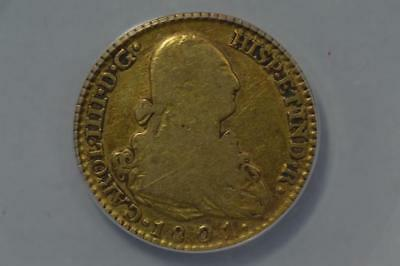 Spain 1801-FA/MF Gold 2 Escudos Lot 77