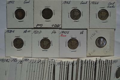 A Partial Set of Barber (30), Mercury (24), and Roosevelt Dimes (7) Lot 198