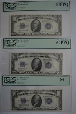 PCGS Certified $10.00 Series of 1934-C Consecutively Numbered Silver... Lot 147