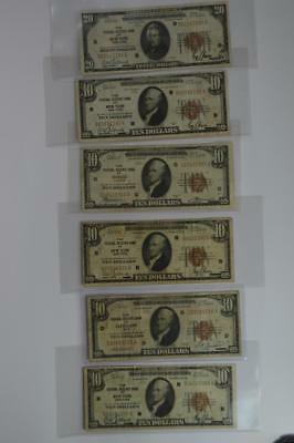 Half Dozen Series of 1929 Small Size Federal Reserve Bank Notes Lot 154