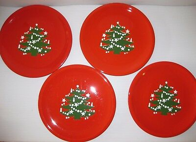 Set of 4 WAECHTERSBACH Christmas Tree 10\  DINNER PLATES Red & 4) Waechtersbach CHRISTMAS TREE 10\