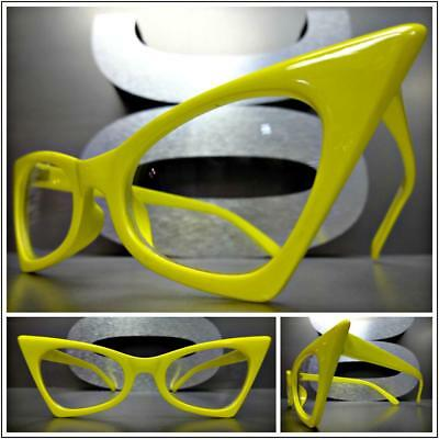 CLASSIC VINTAGE RETRO CAT EYE Style Clear Lens EYE GLASSES Yellow Fashion Frame