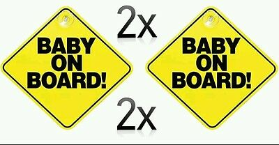 Baby On Board Sign X 2 Child Safety  Suction Cup. Free P & P Car Sign
