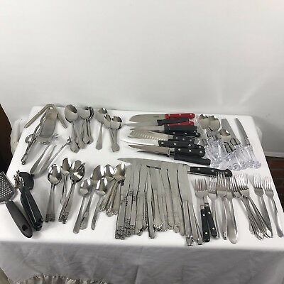 Mixed Lot Silverware Flatware Forks Spoons Knives Serving Utensils Crafts