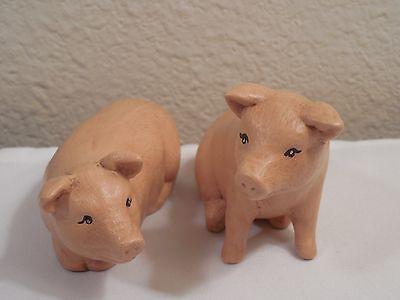 Cute Pair Old Ceramic Hand Painted Pig Figurines ~ I Sitting and 1 Laying Down