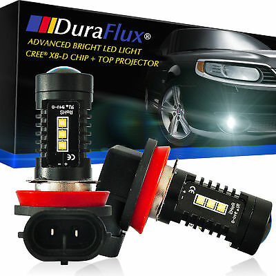 DuraFlux H16 JP 80W CREE LED Fog Driving Light Bulbs 90°Angle 6000K White 2000LM