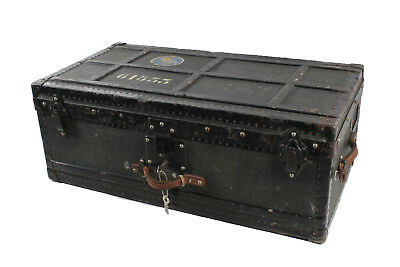 Very Nice Old Suitcase Overseas Travel Cases Wooden Box M. Metal Chest Solid