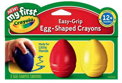 3PC Crayola My First Easy Grip Egg Shaped Crayons Non Toxic For Little Hands