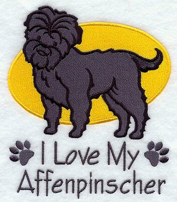 I Love My Affenpinscher Dog SET OF 2 HAND TOWELS EMBROIDERED Beautiful