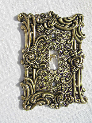 "AmerTac Brass Gold Cast Victorian Rose Vine Outlet Switch Plate ~5""x3"" Ornate"