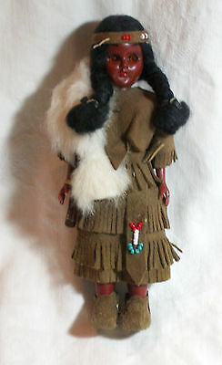 Vintage Native American Celluloid Indian Squaw Doll w/Papoose In Beaded Leather