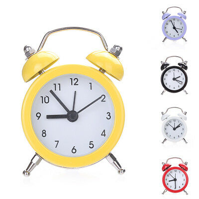 Mini Round Metal Alarm Clock Desk Stand Clock for Home Room Kitchen Office Novel