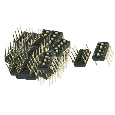 40 Pcs 2.54mm Pitch 2 Rows 4 Positions Slide Type Black DIP Switches 25mA DC 24V