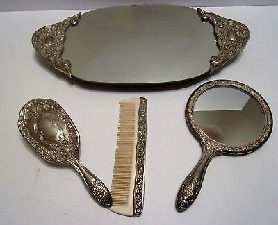 Silver Plated Vanity Mirror Tray Brush Comb Set Lot