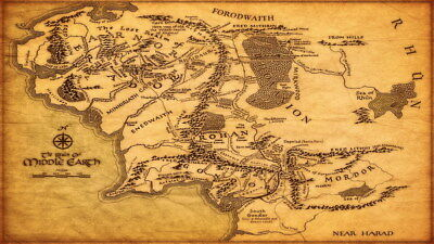 "013 Map of Middle Earth Lord Of The Rings - Hobbit Movie 42""x24"" Poster"