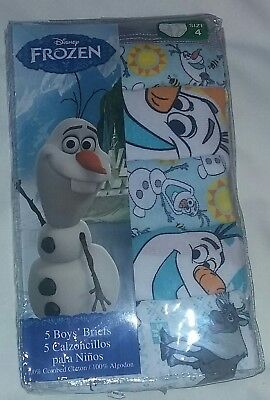"NEW Disney ""FROZEN"" 5-Pack of Size 4 Toddler Boy's Briefs Underwear~Olaf Snowman"