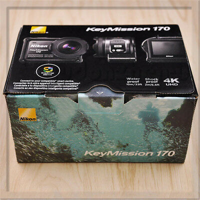 New Nikon Waterproof Wearable Camera Key Mission 170 BK Black 4K Wifi KeyMission