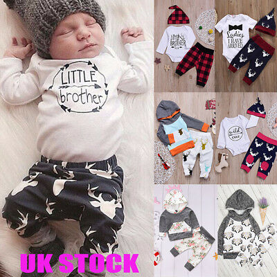 49dca44c1 UK TODDLER BABY Girls Boys Winter Outfits Clothes Romper Tops Pants ...