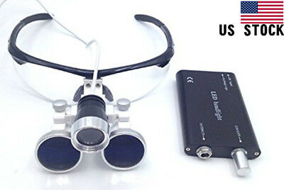 3.5x 420mm Working Distance Surgical Binocular Loupes with LED Head Light Lamp
