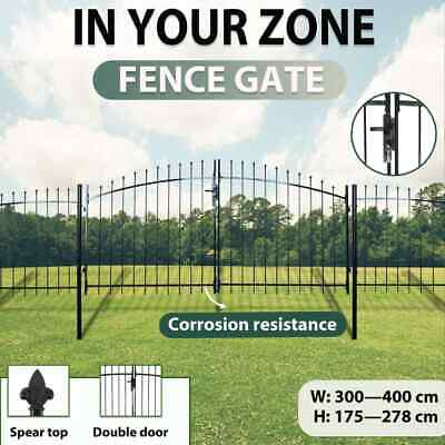 Double Door Fence Gate with Spear Top Garden Backyard Black Steel Multi Sizes
