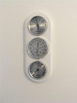 Weather Station Barometer Quality Instrument Modern White Finish Wood Ideal Gift