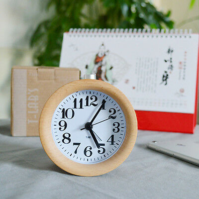 Wooden Silent Non-ticking Bedside Snooze Alarm Clock w/ Warm Night Light