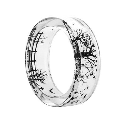 HAND DIY Resin Band Ring Inside Bird Ink Painting Scenery Jewelry Cheap