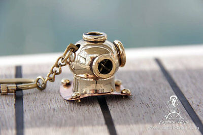Old Antique Maritime Solid Brass Diving Diver's Helmet Key Ring Key Chain KC 02