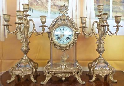 Superb rare antique 19thc French gilt & crystal glass Mantle Clock garniture set