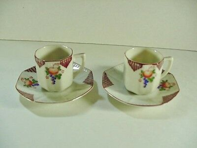 2 Sets Hand Painted Octagon Demitasse Cups and Saucers -- Occupied Japan NICE!