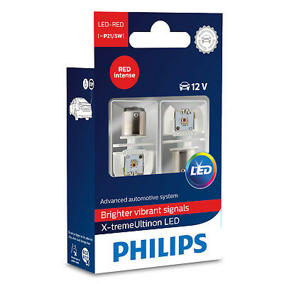 Philips X-treme Ultinon P21/5W Red LED Retrofit Bulbs (Twin) 12899RX2