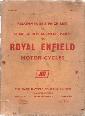 Royal Enfield Original 1966 Factory Spare Parts Price List