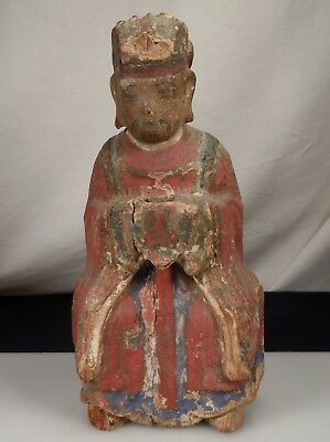 Antique Chinese Asian Polychrome Carved Wood Lohan Figure
