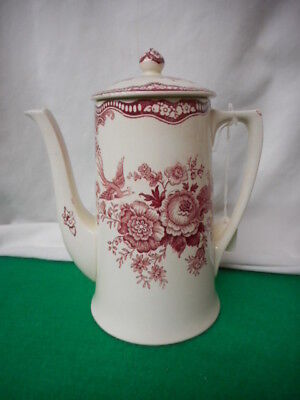 "Vintage Crown Ducal Pink Bristol Coffee Pot 8.5"" Tall"