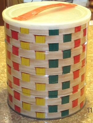 Vtg 1963 Folgers TOTE-ABOUT Basket Weave Reusable Coffee Tin Can w/ Handled Lid