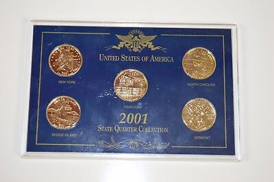 2001 us state quarter collection gold plated kentucky new york nc vermont