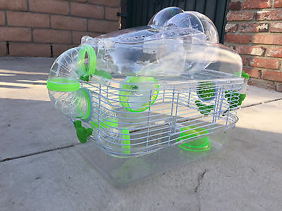 4 Level Sparkle Hamster Mice Mouse Cage with Large Top Exercise Ball Blue 243