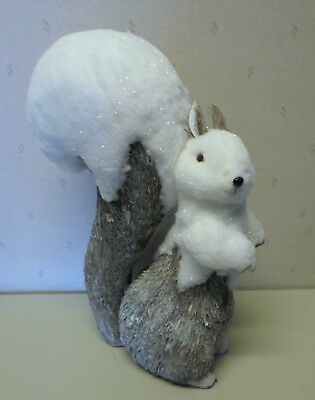 """Natural Twiggy Grass Snow Covered Squirrel figure 15"""" Tall Cute!"""