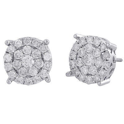 14K White Gold Real Round Diamond 4 Prong Cluster Stud 12mm Mens Earrings 2 CT.