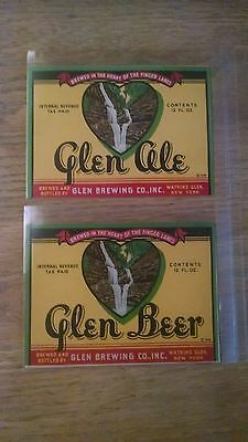 Breweriana  IRTP Labels a pair of Glen Brewing Company