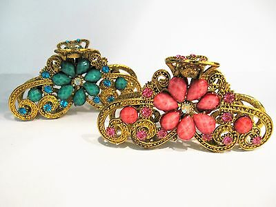 Large jeweled antique style bronze gold metal hair claw clips with crystals